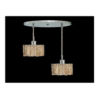 Elegant Lighting Mini 2 Light Pendant in Chrome with Royal Cut Golden Teak Crystal 1282D-R-S-GT/RC
