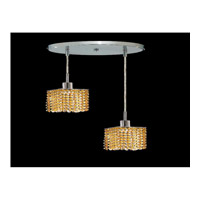 Elegant Lighting Mini 2 Light Pendant in Chrome with Royal Cut Light Topaz Crystal 1282D-R-S-LT/RC