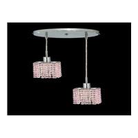Elegant Lighting Mini 2 Light Pendant in Chrome with Swarovski Strass Rosaline Crystal 1282D-R-S-RO/SS