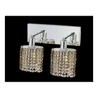 Elegant Lighting Mini 2 Light Wall Sconce in Chrome with Royal Cut Golden Teak Crystal 1282W-O-E-GT/RC