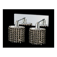 Elegant Lighting Mini 2 Light Wall Sconce in Chrome with Royal Cut Jet Black Crystal 1282W-O-E-JT/RC