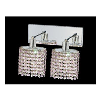 Elegant Lighting Mini 2 Light Wall Sconce in Chrome with Royal Cut Rosaline Crystal 1282W-O-E-RO/RC