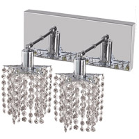 Elegant Lighting Mini 2 Light Wall Sconce in Chrome with Royal Cut Clear Crystal 1282W-O-P-CL/RC