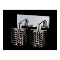 Elegant Lighting Mini 2 Light Wall Sconce in Chrome with Royal Cut Jet Black Crystal 1282W-O-P-JT/RC