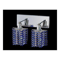 Elegant Lighting Mini 2 Light Wall Sconce in Chrome with Royal Cut Sapphire Crystal 1282W-O-P-SA/RC
