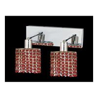 Elegant Lighting Mini 2 Light Wall Sconce in Chrome with Swarovski Strass Bordeaux Crystal 1282W-O-R-BO/SS