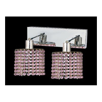 Elegant Lighting Mini 2 Light Wall Sconce in Chrome with Royal Cut Rosaline Crystal 1282W-O-R-RO/RC