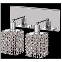 Elegant Lighting Mini 2 Light Wall Sconce in Chrome with Royal Cut Clear Crystal 1282W-O-S-CL/RC