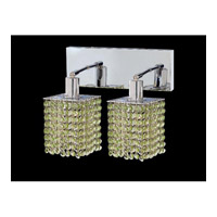 Elegant Lighting Mini 2 Light Wall Sconce in Chrome with Royal Cut Light Peridot Crystal 1282W-O-S-LP/RC
