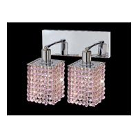 Elegant Lighting Mini 2 Light Wall Sconce in Chrome with Royal Cut Rosaline Crystal 1282W-O-S-RO/RC