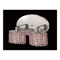 Elegant Lighting Mini 2 Light Wall Sconce in Chrome with Swarovski Strass Rosaline Crystal 1282W-R-E-RO/SS