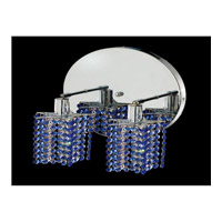 Elegant Lighting Mini 2 Light Wall Sconce in Chrome with Swarovski Strass Sapphire Crystal 1282W-R-P-SA/SS