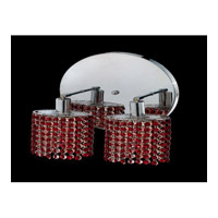 Elegant Lighting Mini 2 Light Wall Sconce in Chrome with Swarovski Strass Bordeaux Crystal 1282W-R-R-BO/SS