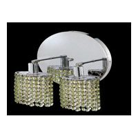 Elegant Lighting Mini 2 Light Wall Sconce in Chrome with Royal Cut Light Peridot Crystal 1282W-R-R-LP/RC