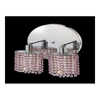 Elegant Lighting Mini 2 Light Wall Sconce in Chrome with Royal Cut Rosaline Crystal 1282W-R-R-RO/RC