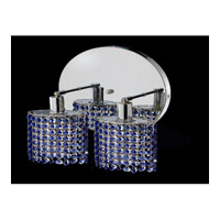 Elegant Lighting Mini 2 Light Wall Sconce in Chrome with Royal Cut Sapphire Crystal 1282W-R-R-SA/RC