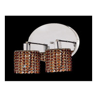 Elegant Lighting Mini 2 Light Wall Sconce in Chrome with Royal Cut Topaz Crystal 1282W-R-R-TO/RC
