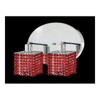 Elegant Lighting Mini 2 Light Wall Sconce in Chrome with Swarovski Strass Bordeaux Crystal 1282W-R-S-BO/SS