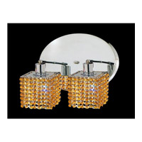 Elegant Lighting Mini 2 Light Wall Sconce in Chrome with Swarovski Strass Light Topaz Crystal 1282W-R-S-LT/SS