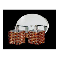 Elegant Lighting Mini 2 Light Wall Sconce in Chrome with Swarovski Strass Topaz Crystal 1282W-R-S-TO/SS