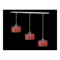 Elegant Lighting Mini 3 Light Pendant in Chrome with Swarovski Strass Bordeaux Crystal 1283D-O-E-BO/SS