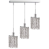 Mini 3 Light 15 inch Chrome Pendant Ceiling Light in Clear, Royal Cut, Rectangle, Ellipse