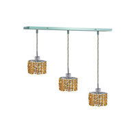 Elegant Lighting 1283D-O-E-LT/SS Mini 3 Light 15 inch Chrome Pendant Ceiling Light in Light Topaz, Swarovski Strass, Rectangle, Ellipse alternative photo thumbnail