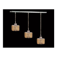 Elegant Lighting Mini 3 Light Pendant in Chrome with Royal Cut Light Topaz Crystal 1283D-O-E-LT/RC