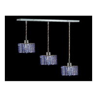 Elegant Lighting Mini 3 Light Pendant in Chrome with Royal Cut Sapphire Crystal 1283D-O-E-SA/RC