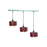 Elegant Lighting 1283D-O-P-BO/SS Mini 3 Light 15 inch Chrome Pendant Ceiling Light in Bordeaux, Swarovski Strass, Rectangle, Star alternative photo thumbnail