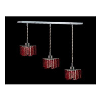 Elegant Lighting 1283D-O-P-BO/SS Mini 3 Light 15 inch Chrome Pendant Ceiling Light in Bordeaux, Swarovski Strass, Rectangle, Star photo thumbnail