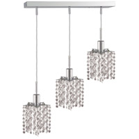 Mini 3 Light 15 inch Chrome Pendant Ceiling Light in Clear, Elegant Cut, Rectangle, Star