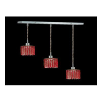 Elegant Lighting Mini 3 Light Pendant in Chrome with Swarovski Strass Bordeaux Crystal 1283D-O-R-BO/SS