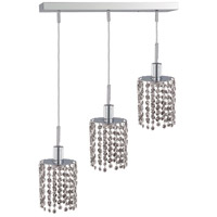 Mini 3 Light 15 inch Chrome Pendant Ceiling Light in Clear, Elegant Cut, Rectangle, Round