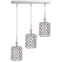 Mini 3 Light 15 inch Chrome Pendant Ceiling Light in Clear, Spectra Swarovski, Rectangle, Square