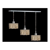 Elegant Lighting Mini 3 Light Pendant in Chrome with Royal Cut Golden Teak Crystal 1283D-O-S-GT/RC