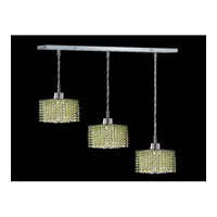 Elegant Lighting Mini 3 Light Pendant in Chrome with Royal Cut Light Peridot Crystal 1283D-O-S-LP/RC photo thumbnail