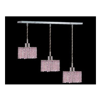 Elegant Lighting Mini 3 Light Pendant in Chrome with Royal Cut Rosaline Crystal 1283D-O-S-RO/RC