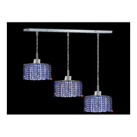 Elegant Lighting Mini 3 Light Pendant in Chrome with Royal Cut Sapphire Crystal 1283D-O-S-SA/RC