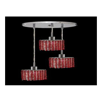 Elegant Lighting Mini 3 Light Pendant in Chrome with Royal Cut Bordeaux Crystal 1283D-R-E-BO/RC