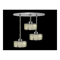 Elegant Lighting Mini 3 Light Pendant in Chrome with Swarovski Strass Light Peridot Crystal 1283D-R-E-LP/SS