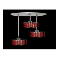 Elegant Lighting Mini 3 Light Pendant in Chrome with Royal Cut Bordeaux Crystal 1283D-R-P-BO/RC