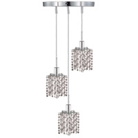 Elegant Lighting Mini 3 Light Pendant in Chrome with Swarovski Strass Clear Crystal 1283D-R-P-CL/SS