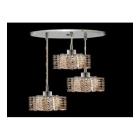 Elegant Lighting Mini 3 Light Pendant in Chrome with Swarovski Strass Golden Teak Crystal 1283D-R-P-GT/SS
