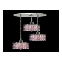 Elegant Lighting Mini 3 Light Pendant in Chrome with Royal Cut Rosaline Crystal 1283D-R-P-RO/RC