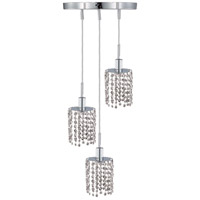 Mini 3 Light 9 inch Chrome Pendant Ceiling Light in Clear, Elegant Cut, Round