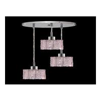 Elegant Lighting Mini 3 Light Pendant in Chrome with Swarovski Strass Rosaline Crystal 1283D-R-R-RO/SS