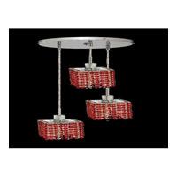 Elegant Lighting Mini 3 Light Pendant in Chrome with Swarovski Strass Bordeaux Crystal 1283D-R-S-BO/SS