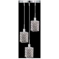 Mini 3 Light 9 inch Chrome Pendant Ceiling Light in Clear, Spectra Swarovski, Round, Square