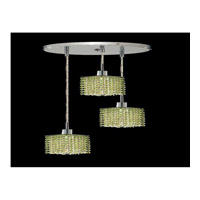Elegant Lighting Mini 3 Light Pendant in Chrome with Swarovski Strass Light Peridot Crystal 1283D-R-S-LP/SS